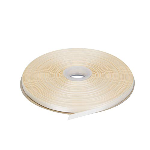 LaRibbons 100 Yards 1/4 inch Double Face Satin Ribbon for Craft, Gift Wrapping, Hair Bow, Wedding Deco - 810 Ivory