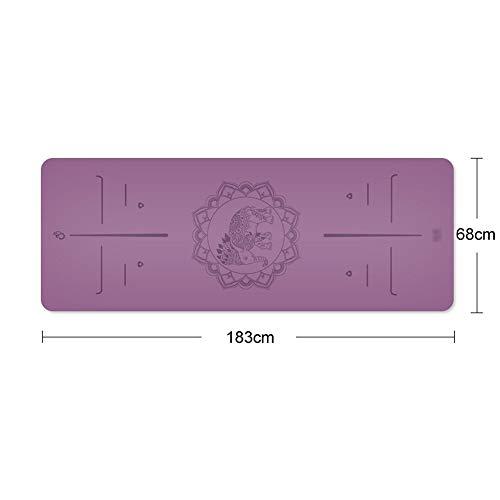 (Kairuicao Yoga Mat Natural Rubber, Non-Slip, Exquisite Pattern, Size: 183cmX68cm (Color : F))