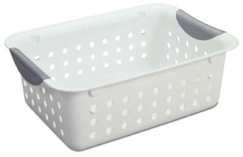 Sterilite 16228012 Small Ultra Basket, White Basket w/ Titanium Inserts, 12-Pack