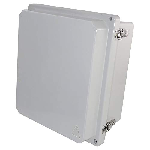 Altelix 14x12x8 FRP Fiberglass NEMA 4X Box Weatherproof Enclosure with Hinged Lid & Stainless Steel Latches ()