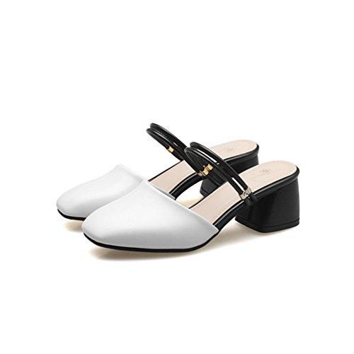 Toe Summer Women's Head Sandals Slip On Square Casual White Heeled Shoes Slide Crude Closed Dress Tw8dgwq