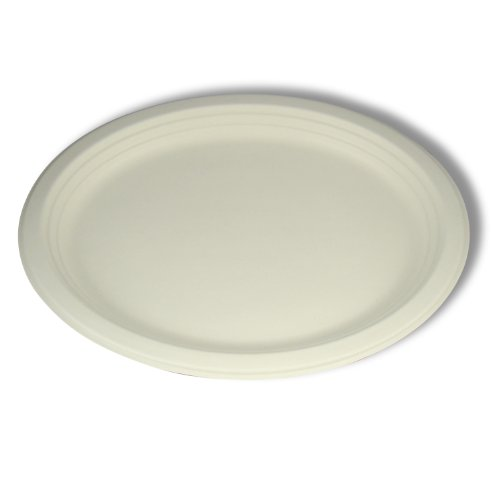Stalkmarket 100% Compostable Sugar Cane Fiber Oval Platter, 12-Inch, 500-Count Case by Stalkmarket