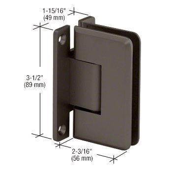 CRL Pinnacle 037 Series Oil Rub Bronze Wall Mount Full Back Plate Standard Hinge 037 Series Antique