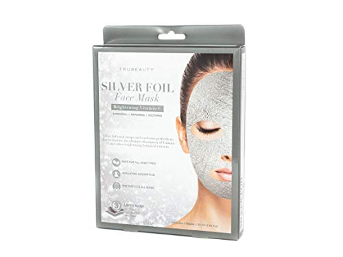 Tru Beauty, Silver Foil Face Mask, Hydrating and Brightening Vitamin C - 5 Mask Sheets