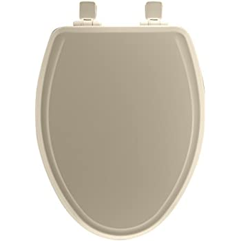 Mayfair 148SLOWA 006 Molded Wood Toilet Seat featuring Whisper-Close, Easy Clean & Change Hinges and STA-TITE Seat Fastening System, Elongated, Bone