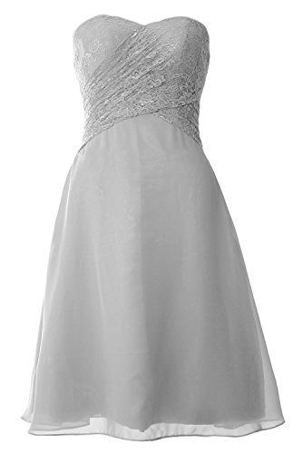 MACloth Women Strapless Lace Short Bridesmaid Dress Wedding Party Formal Gown Plateado