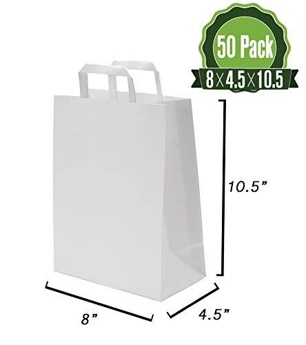 White Kraft Paper Gift Bags Bulk With Flat Handles 50pc