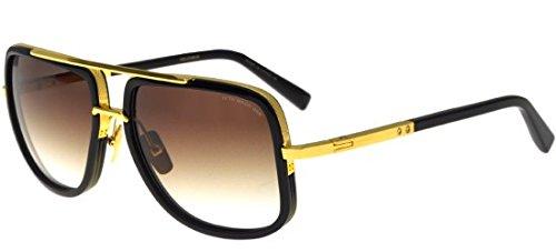 Sunglasses Dita MACH ONE DRX 2030 B Shiny 18K Gold-Black w/D.Brown to ClearAR (Dita Sunglasses)