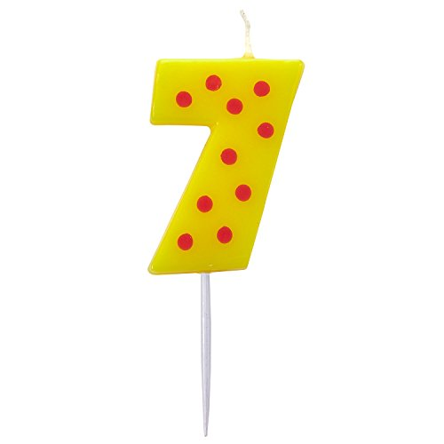 Dots & Stripes Birthday Candles Number 7 - 4.5cm