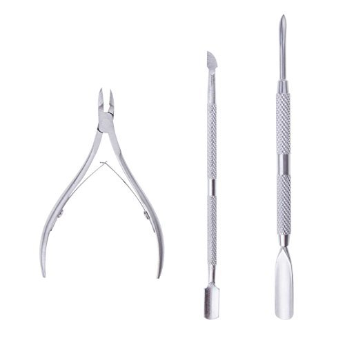 SunsbellStainless Steel Nail Cuticle Spoon Pusher Remover Nail Cut Tool Pedicure Manicure Set