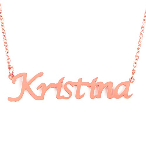 Zacria Kristina Custom Name Necklace Personalized - 18ct Rose Gold Plated