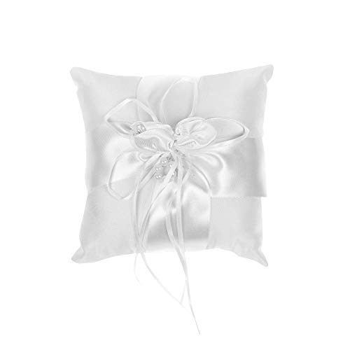 Kloud City 5.5x5.5 Inches Wedding Ceremony Ring Cushion Bearer Faux Pearl Satin Ribbon Party Ring Pillow