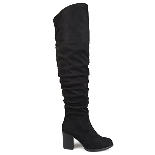 Brinley Co Womens Regular Wide Calf and Extra Wide Calf Ruched Stacked Heel Faux Suede Over-The-Knee Boots Black, 8 Wide Calf US by Brinley Co