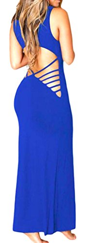 Pandapang Women's Sexy Crewneck Bandage Backless Bodycon Maxi Dresses Sapphire Blue M