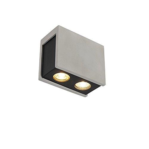 QAZQA Industrial Foco moderno hormigón con negro metal 2 luces - VESSEL Metálica/Piedra/cemento Rectangular Adecuado para LED Max.