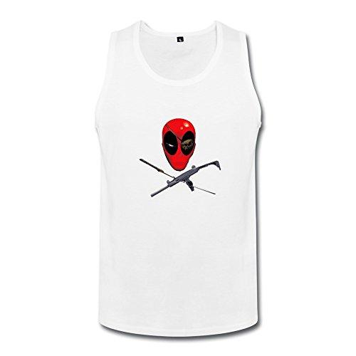 Deadpool Gun And Katana Men Tank Top Shirt White XXL
