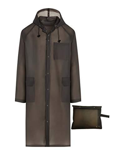 BlinQ Portable Rain Poncho Rain Jacket Raincoat with Drawstring Hood and Pocket | Extra Long Lightweight Packable Waterproof Rainwear | Adult Reusable Men Womens Rain Coat for Outdoor Travel - Gray