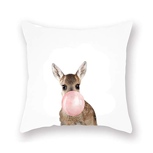 YANGYULU Pillow Cover Cute Kangaroo and Balloon Pillow Case Super Soft Decorative Standard Throw Pillow Covers Square Cushion Covers for Home Sofa Bedding 18 x 18 Inches
