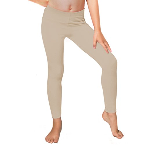 Stretch is Comfort Girl's Cotton Footless Leggings Beige X Large