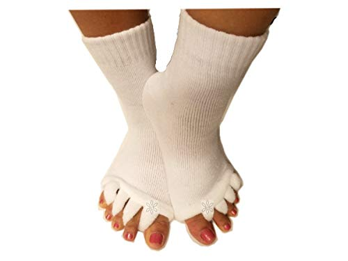 Toe Separator Yoga Gym Sports Massage Socks for Foot Alignment, Great for Sore Feet and Diabetics by TRiiM Fitness with FREE Exercise guide for your feet!(White)