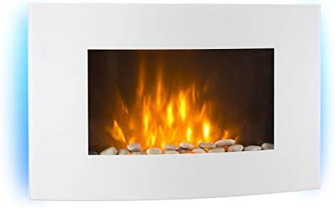 Ventilateur de Chauffage Installation Murale Illusion de Flamme Minuterie hebdomadaire Blanc cass/é Chemin/ée /électrique 1000 ou 2000 Watts KLARSTEIN Lausanne Thermostat