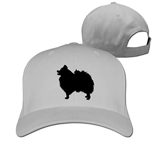 (Classic Baseball Cap, Pomeranian Silhouette Strapback Cap for Women Men Adjustable Size Gray )