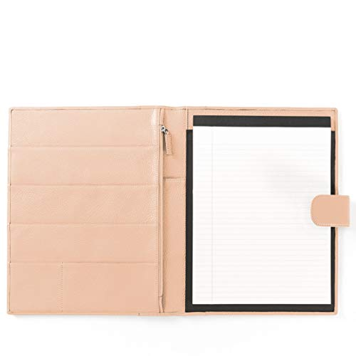 - Leatherology Organizer Portfolio with Tablet Pocket & Magnetic Closure - Full Grain Leather Leather - Rose (Pink)