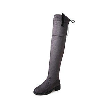 RTRY Zapatos De Mujer Cashmere Caída De La Moda Botas Botas Chunky Talón Puntera Redonda Lace-Up Thigh-High Botas Para Casual Negro Gris Verde US7.5 / EU38 / UK5.5 / CN38