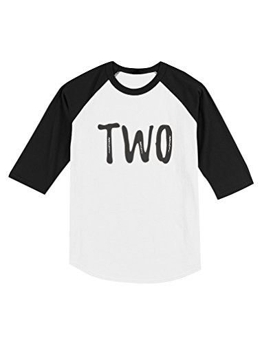 Birthday Sleeve 3/4 (Tstars 2nd Birthday Gift for Two Year Old Child Toddler Raglan 3/4 Sleeve Baseball Tee 2T Black/White)