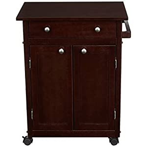 Amazon Basics Classic Solid Rubber Wood Kitchen Cart with Cabinet, Espresso
