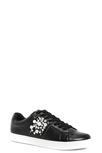 Schwarz Damen Ivy Pearl And Diamante Trim Lace Up Trainer Schwarz
