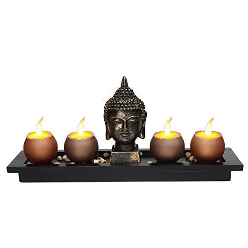 Jeteven Tealight Holder & Incense Burner Holder Buddha Head Sculpture Set,Zen Garden Buddha Statue with 4 Tealight Candle Holders