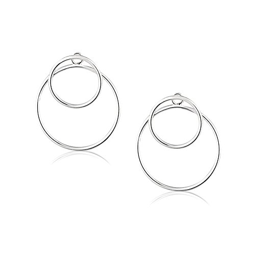 925 Sterling Silver Infinite Endless Open Rings Geometric Circles Statement Ear Jacket (Circle Earring Jackets)