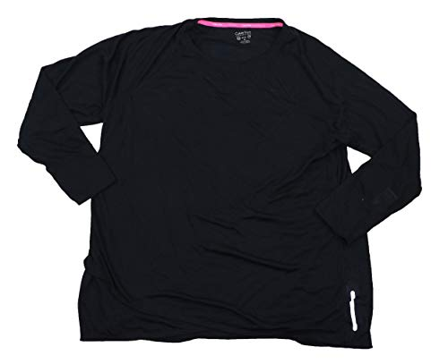 Calvin Klein Womens Plus Crossover Long Sleeves Pullover Top Black 2X ()