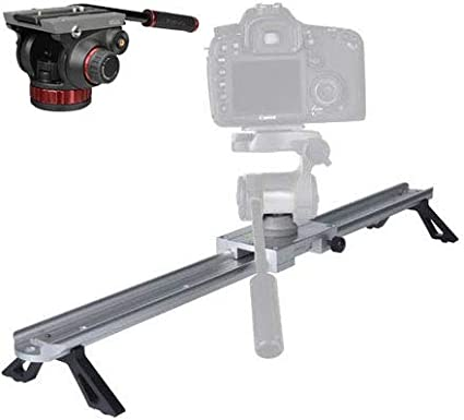 Fluid Pan Drag System Built-in Counterbalance Ivation 23 inch Camera Slider with MVH502AH Pro Video Tripod Head with Flat Base