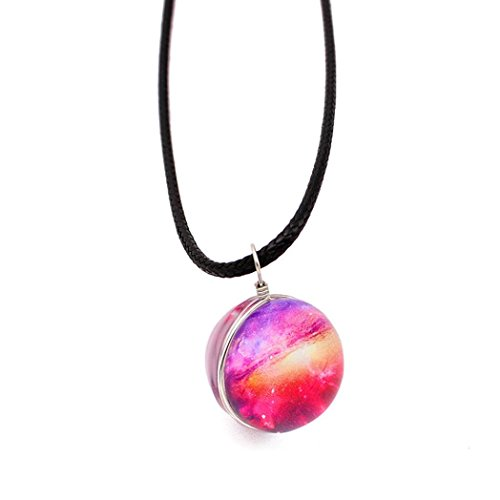 Elogoog Clearance! Retro Galaxy Glass Ball Pendant Necklace Jewelry, Crystal Ball Universe Choker Glow in the dark (A)