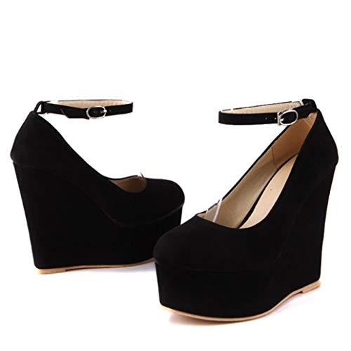 Bokun Women Wedges Platform Shoes Round Toe Slip-on Pumps Chic Sequined Heels Comfortable Elegant for Lady