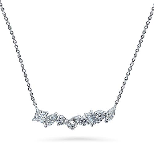 BERRICLE Rhodium Plated Sterling Silver Cubic Zirconia CZ Cluster Bar Wedding Pendant Necklace