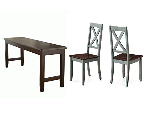 Better Homes & Gardens Maddox Crossing Dining Chair, Antique Sage, Set of 2 Bundle with Better Homes & Gardens Bankston Dining Bench, Mocha
