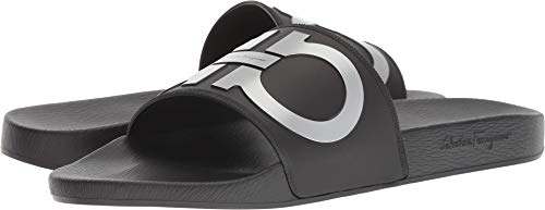 Salvatore Ferragamo Men's Groove 2 Slides, Black/Silver, 12 M US