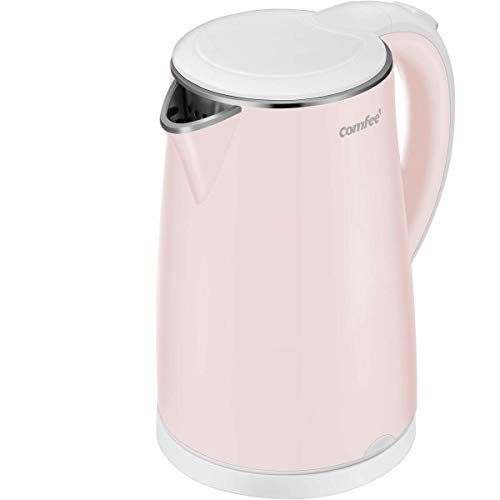COMFEE' MK-HJ1705a1 Electric Kettle Teapot 1.7 Liter Fast Water Heater Boiler 1500W BPA-Free, Quiet Boil & Cool Touch Series, Auto Shut-Off and Boil Dry Protection, 1.7L, Baby Pink (Best Kettle To Boil Water For Baby)