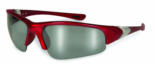 Specialized Safety Products ENTIAT 2.5 RED M 95168 Unisex 2.5 Bifocal/Reader Safety Glasses with Red Frames and Silver Mirror - Readers Bifocal Silver