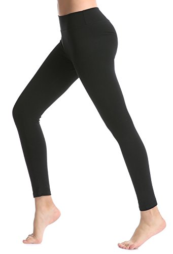 ABUSA Women's Yoga Leggings Power Flex Tummy Control Exercise Running Workout Pants XL Black Cotton Blend Gym Pant