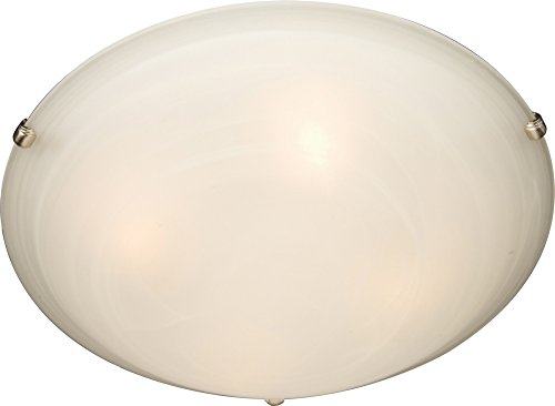 Maxim 2680MRSN Malaga 2-Light Flush Mount, Satin Nickel Finish, Marble Glass, MB Incandescent Incandescent Bulb, 60W Max, Dry Safety Rating, Standard Dimmable, Glass Shade Material, Rated Lumens by Maxim Lighting