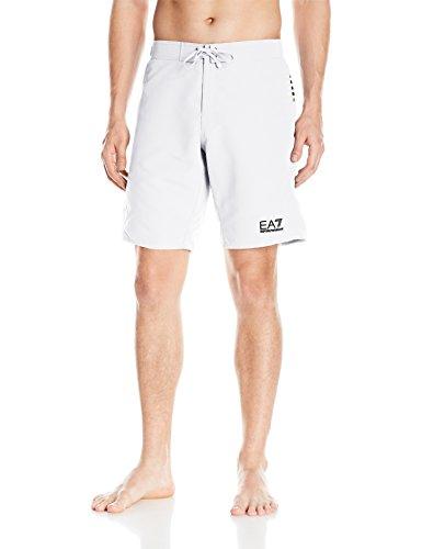 Emporio Armani Men's Active Block Lines Bermuda Swim Shorts, White, Medium/ EU 50 by Emporio Armani