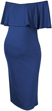 Coolmee Women's Maternity Dress Off Shoulder Casual Maxi D
