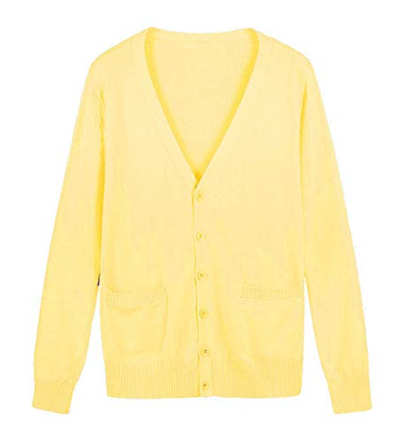 ROLECOS Girls Japanese Knit Cardigan Candy Color School Uniform Sweater Cosplay Costume Yellow L -