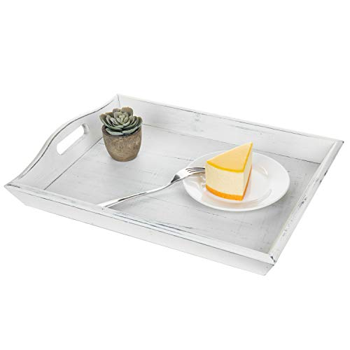 MyGift 16-Inch Rustic Wood Serving Tray With Handles, Vintage White
