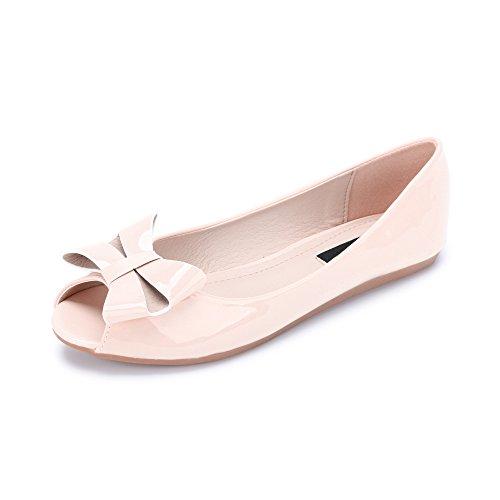 Ballet plano de zapatos de cabeza de pescado de la PU Charol Moda para mujer Rosa C-3