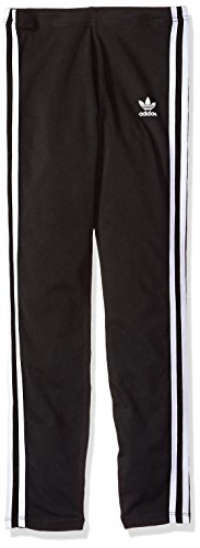 adidas Originals Girls' Big Originals 3 Stripes Leggings, Black/White, M